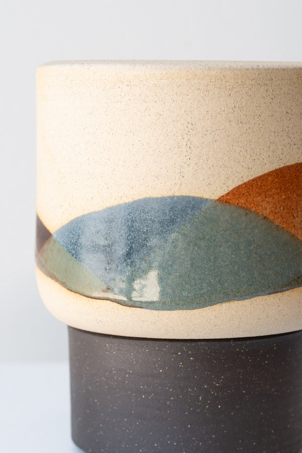 Close up of small bowl planter and tray by Horizon Line Ceramics