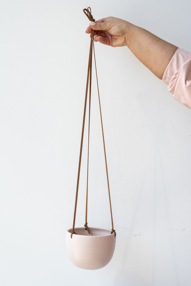 High Hanging Planter pink with Leather Cord