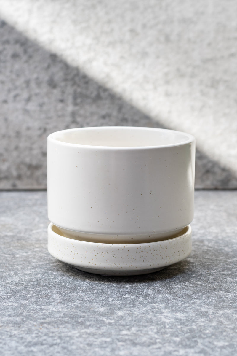 White speckled stoneware planter with matching saucer by LBE Designs