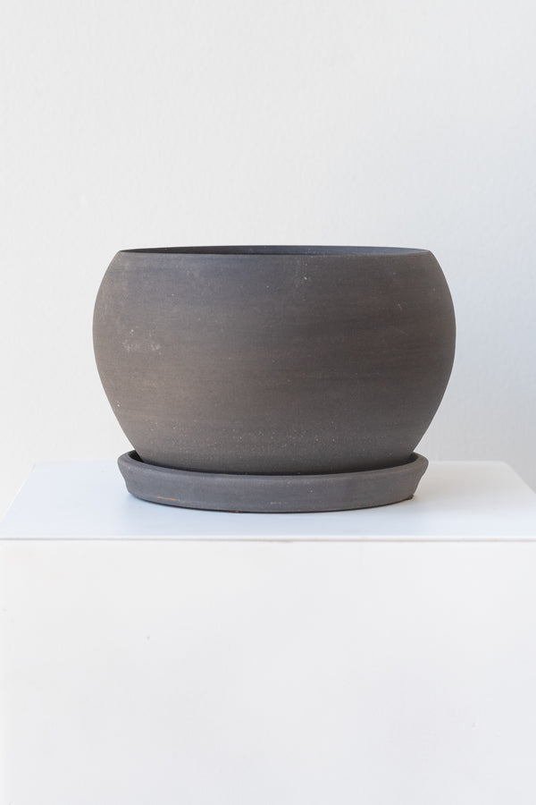 A round grey ceramic planter sits on a white surface in a white room. The planter is bubble-shaped and sits on a round drainage tray. The planter is empty. It is photographed straight on.