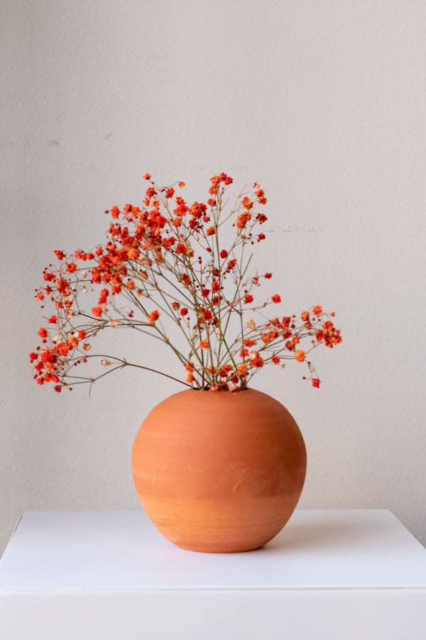 One small round terra cotta vase sits on a white surface in a white room. There are stems of small orange flowers in the vase. It is photographed straight on.