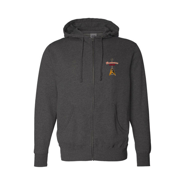 Red Lady Zip-Up Hoodie (Unisex) - Charcoal