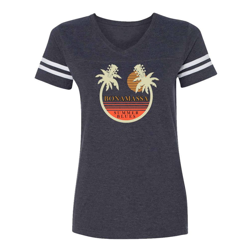 Bonamassa Summer Palms V-Neck (Women) - Vintage Navy/White