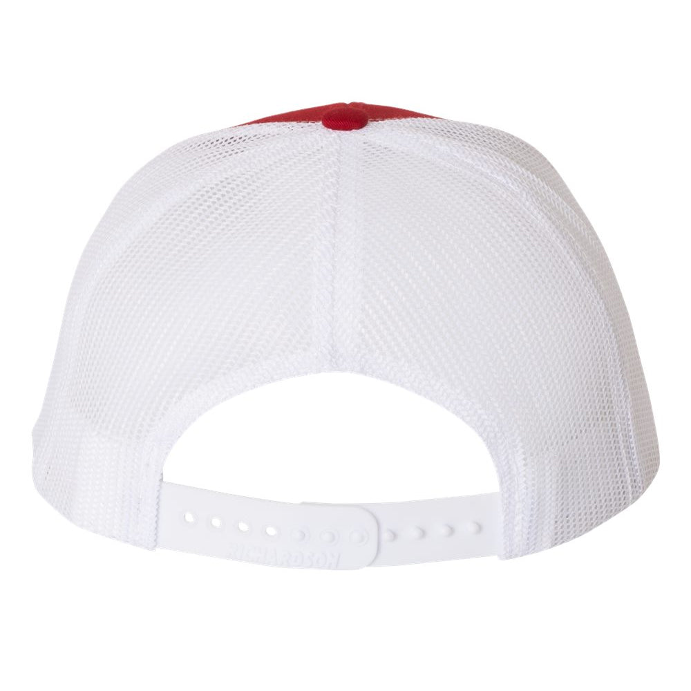 Always On The Road Flying V Snapback Trucker Hat - Red/White