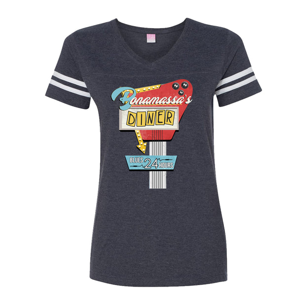 Bonamassa's Diner Football V-Neck (Women) - Vintage Navy