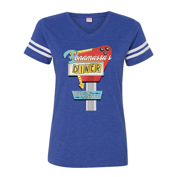 Bonamassa's Diner Football V-Neck (Women) - Vintage Royal