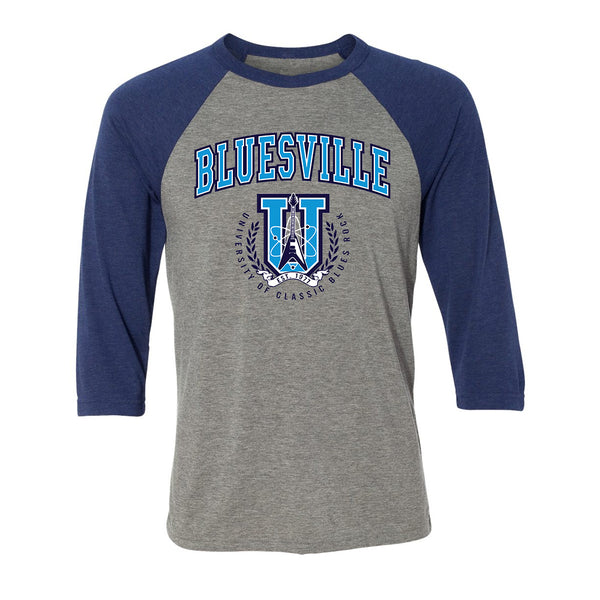 Bluesville University of Classic Blues Rock 3/4 Sleeve T-Shirt (Unisex) - Grey/Royal Triblend