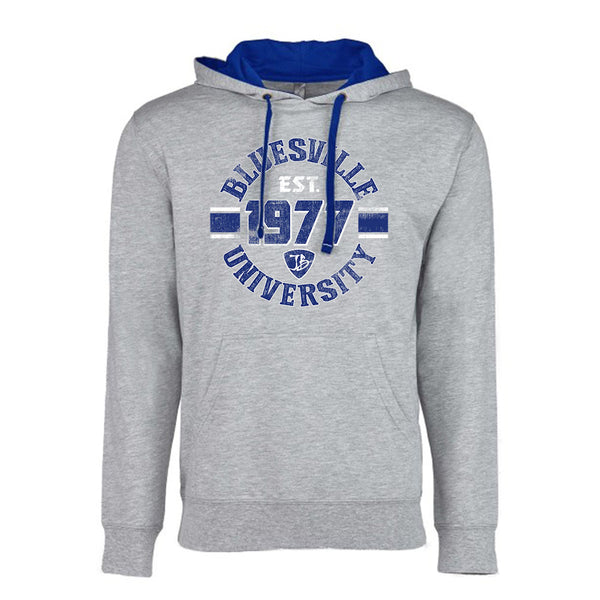 Bluesville University Shield Hooded Pullover (Unisex) - Heather Grey/Royal