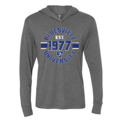 Bluesville University Shield Long Sleeve & Hoodie (Unisex) - Premium Heather Grey