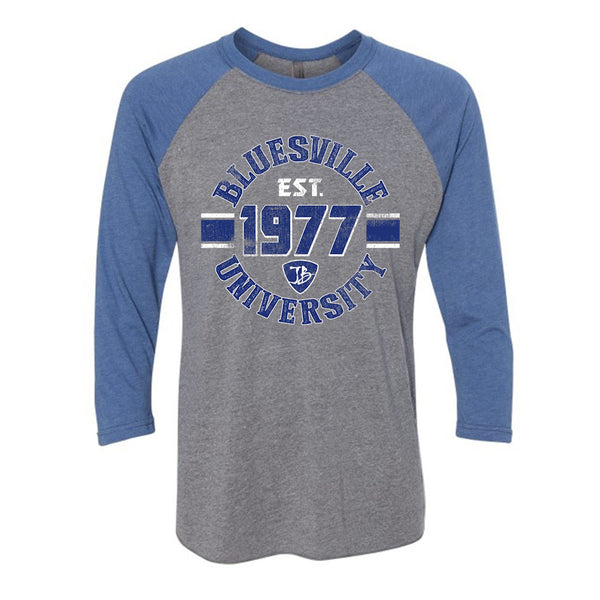Bluesville University Shield 3/4 Sleeve T-Shirt (Unisex) - Premium Heather Grey/Vintage Royal