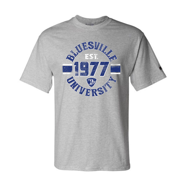 Bluesville University Shield Champion T-Shirt (Men) - Light Steel