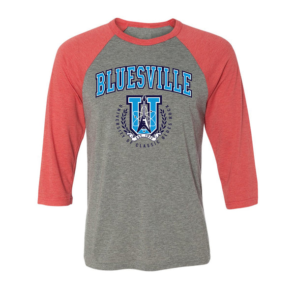 Bluesville University of Classic Blues Rock 3/4 Sleeve T-Shirt (Unisex) - Grey/Red Triblend