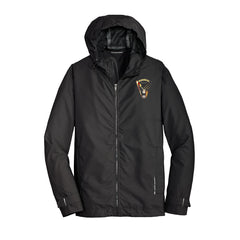 Peace Sign Port Authority Slicker Rain Jacket (Men) - Black