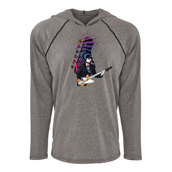 Trippy Headstock Raglan Hoodie (Unisex) - Heather Grey