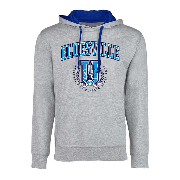 Bluesville University of Classic Blues Rock Hooded Pullover (Unisex) - Heather Grey/Royal