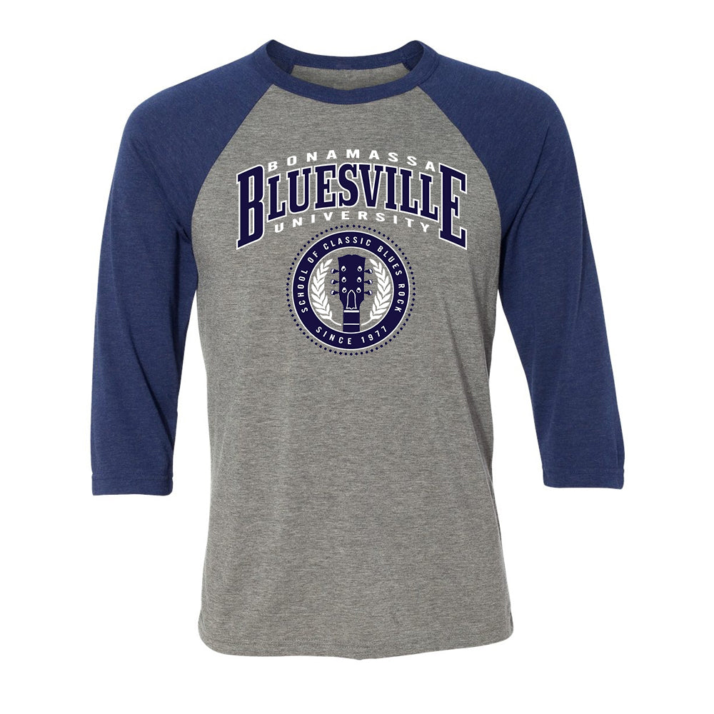 Bluesville School of Classic Blues Rock 3/4 Sleeve T-Shirt (Unisex) - Grey/Royal Triblend