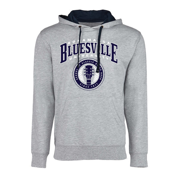 Bluesville School of Classic Rock Hooded Pullover (Unisex) - Heather Grey/Navy