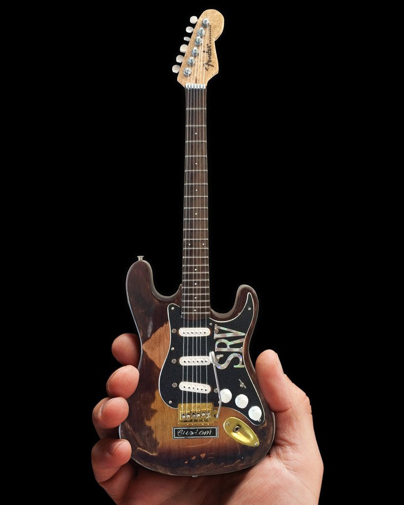 Axe Heaven Distressed SRV Custom Miniature Fender Strat Guitar Replica Collectible