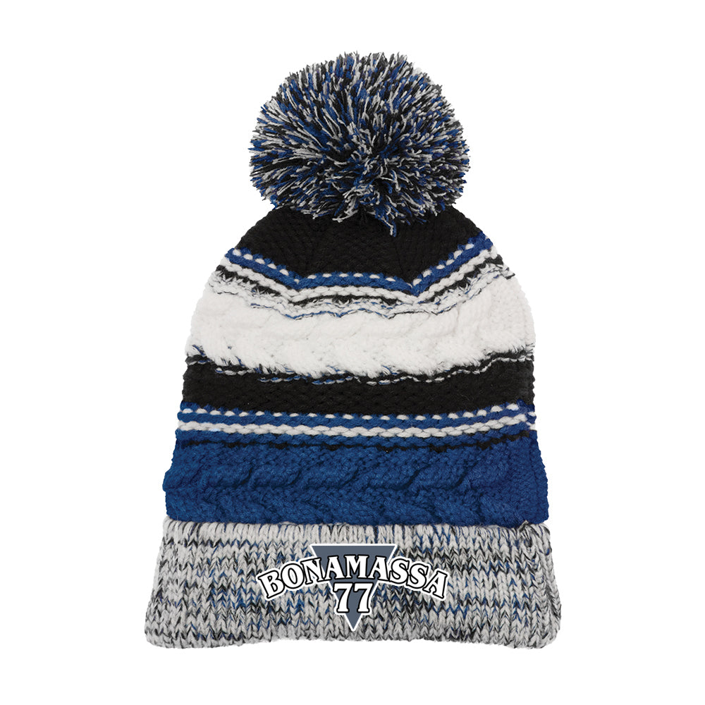 Blues Rock Guitar Logo Pom Pom Beanie - Royal Blue