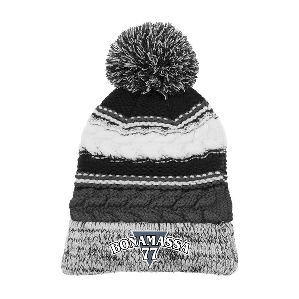 Blues Rock Guitar Logo Pom Pom Beanie - Black