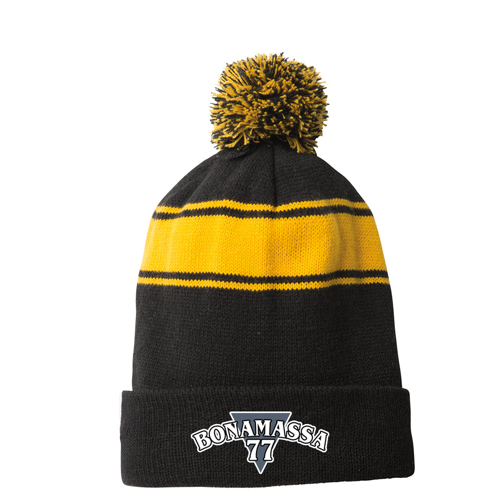 Blues Rock Guitar Logo Stripe Pom Pom Beanie - Black/Gold