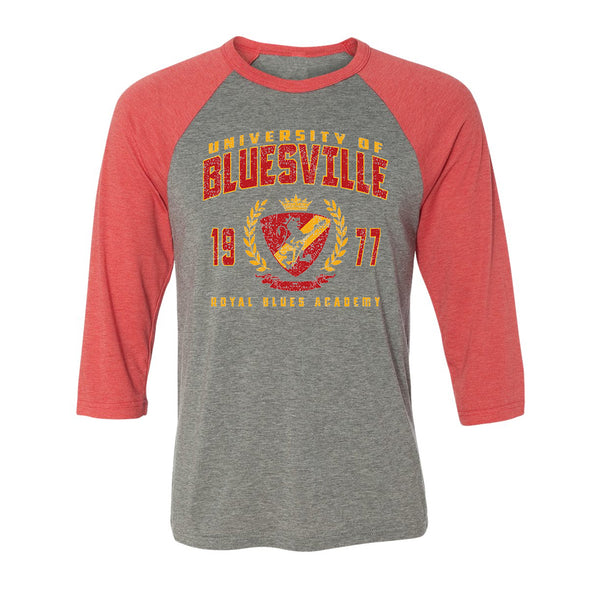 Bluesville Royal Blues Academy 3/4 Sleeve T-Shirt (Unisex) - Grey/Red Triblend