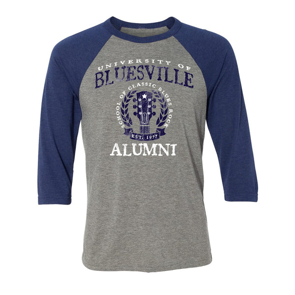 Bluesville University Alumni 3/4 Sleeve T-Shirt (Unisex) - Grey/Navy Triblend