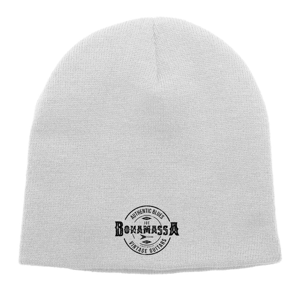 Authentic Blues Knit Beanie - White