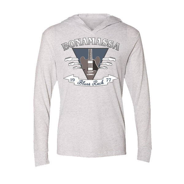 Blues Rock Guitar Logo Long Sleeve & Hoodie (Unisex) - Heather White