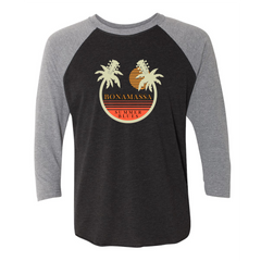 Bonamassa Summer Palms 3/4 Sleeve T-Shirt (Unisex) - Heather Grey/Black
