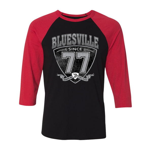 "Bluesville ""77"" Shield 3/4 Sleeve T-Shirt (Unisex) - Black/Red"