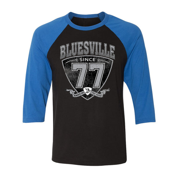 "Bluesville ""77"" Shield 3/4 Sleeve T-Shirt (Unisex) - Black/Royal"