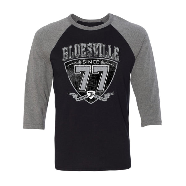"Bluesville ""77"" Shield 3/4 Sleeve T-Shirt (Unisex) - Black/Heather"