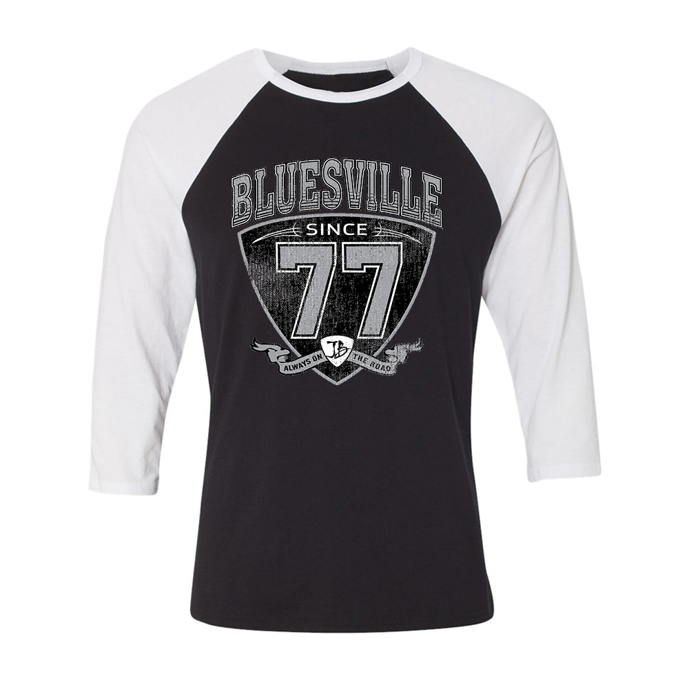 "Bluesville ""77"" Shield 3/4 Sleeve T-Shirt (Unisex) - Black/White"
