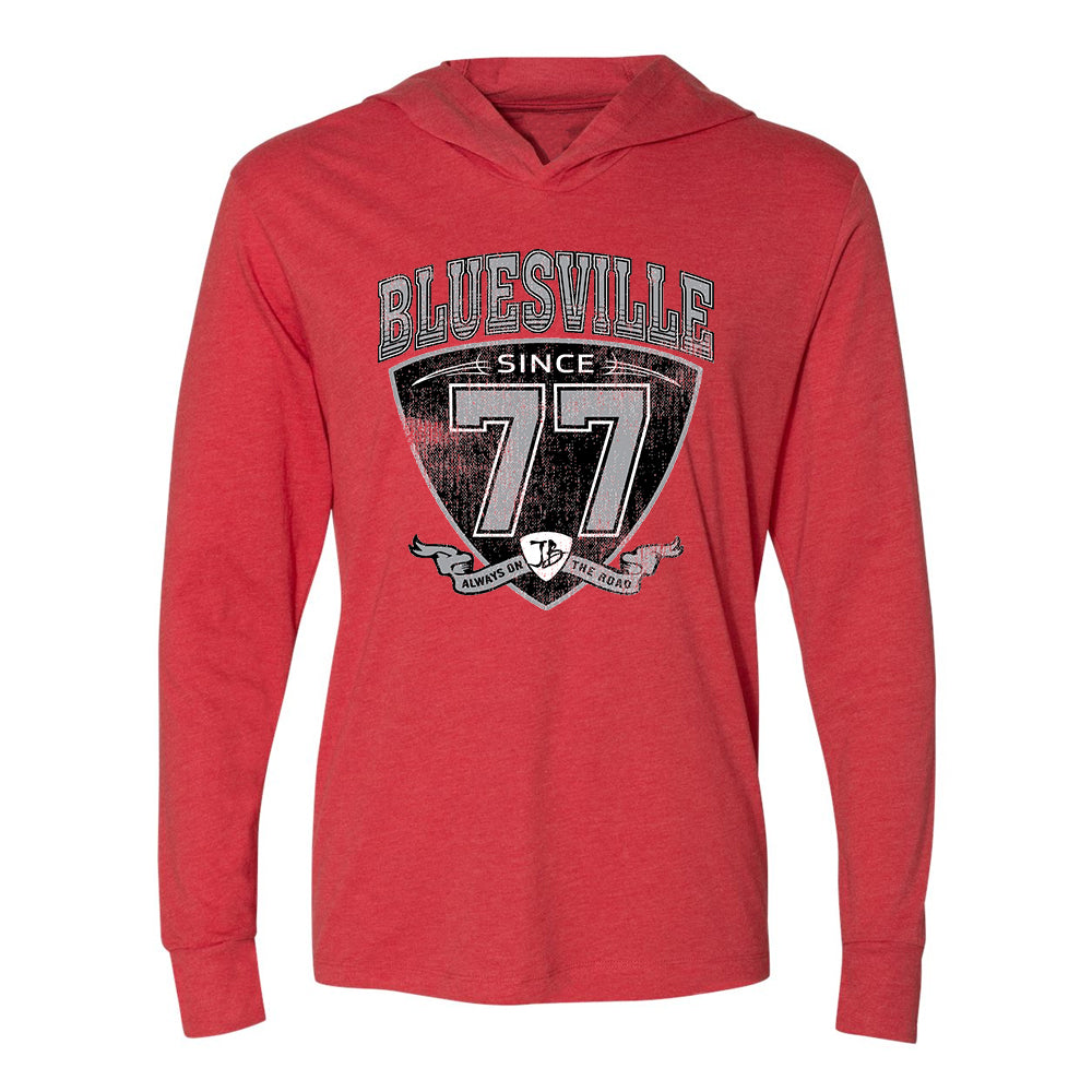 "Bluesville ""77"" Shield Long Sleeve & Hoodie (Unisex) - Vintage Red"
