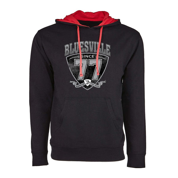 "Bluesville ""77"" Shield Hooded Pullover (Unisex) - Black/Red"