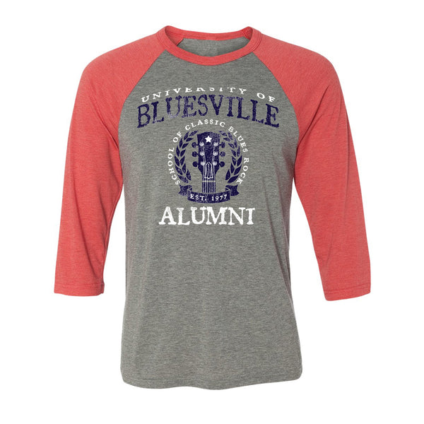Bluesville University Alumni 3/4 Sleeve T-Shirt (Unisex) - Grey/Red Triblend