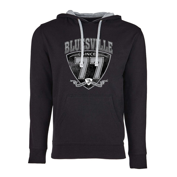 "Bluesville ""77"" Shield Hooded Pullover (Unisex) - Black/Heather Grey"