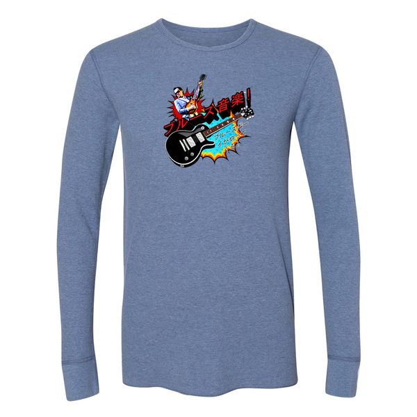 Blues Music Long Sleeve Thermal (Unisex) - Heather Blue