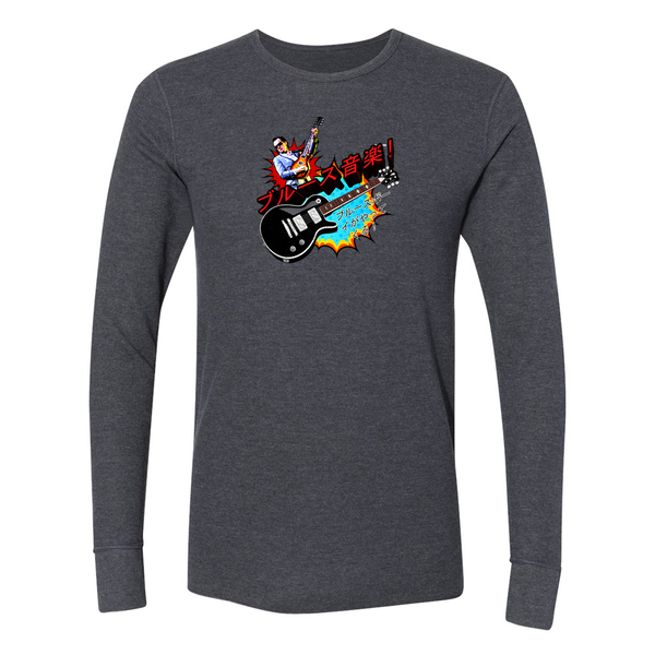 Blues Music Long Sleeve Thermal (Unisex) - Heather Charcoal