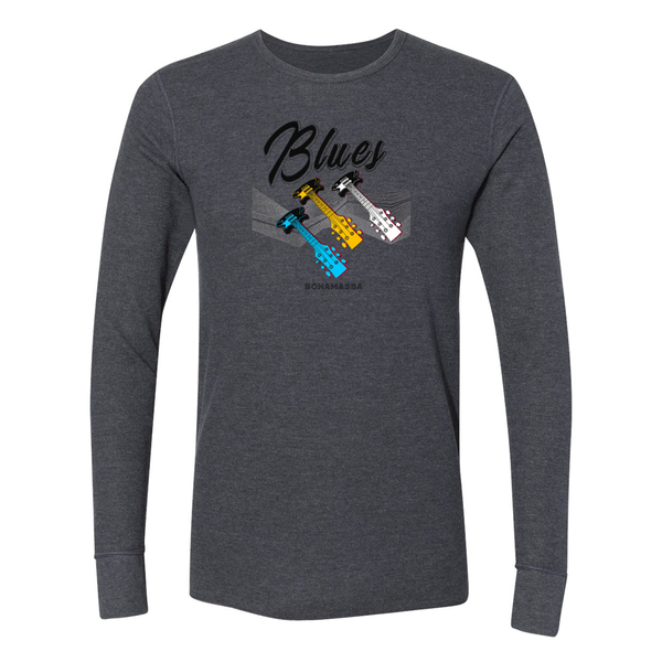 Blues Illusion Long Sleeve Thermal (Unisex) - Heather Charcoal