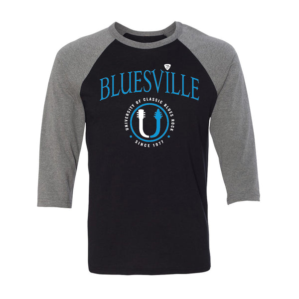 "Bluesville ""U"" Headstock Logo 3/4 Sleeve T-Shirt (Unisex) - Black/Heather"
