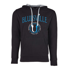 "Bluesville ""U"" Headstock Logo Hooded Pullover (Unisex) - Black/Heather Grey"