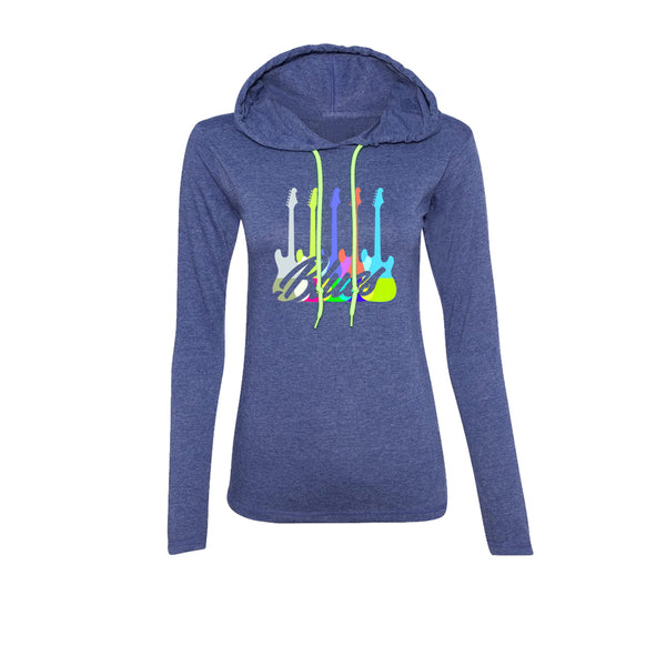 Chromatic Blues Hooded Long Sleeve (Women) - Heather Blue