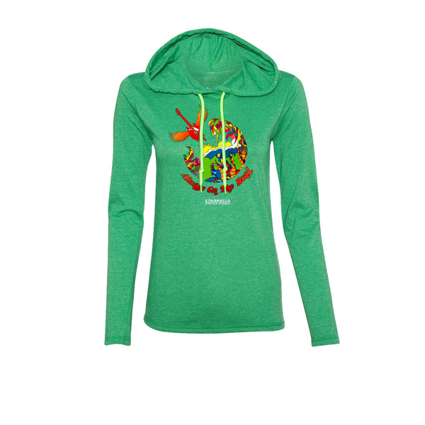 Blues Universe Hooded Long Sleeve (Women) - Heather Green