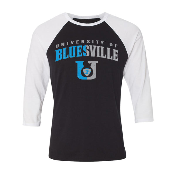 "Bluesville ""U"" Guitar Logo 3/4 Sleeve T-Shirt (Unisex) - Black/White"