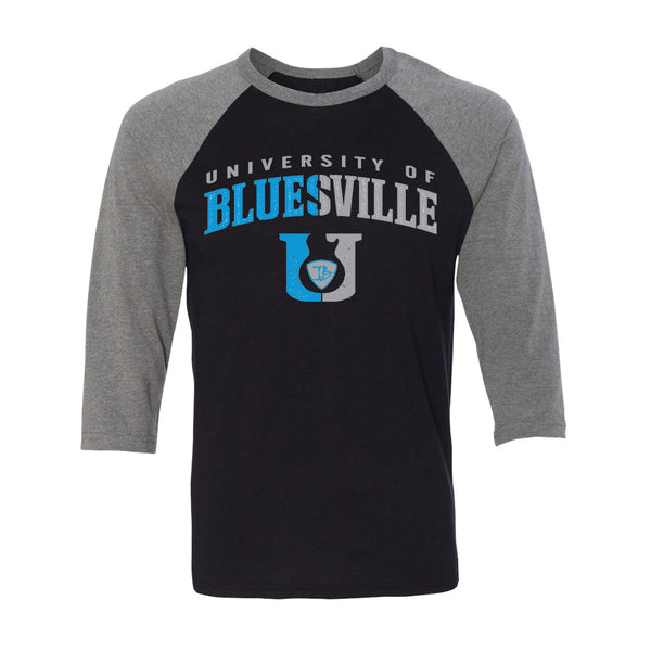 "Bluesville ""U"" Guitar Logo 3/4 Sleeve T-Shirt (Unisex) - Black/Heather"