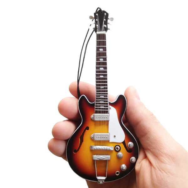 6″ Mini Guitar Holiday Ornament Replica Collectible – Classic Sunburst Hollow Body