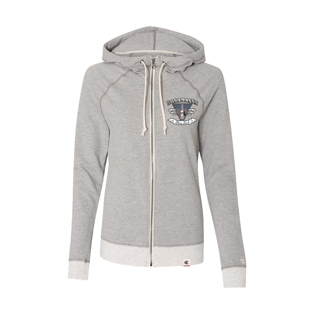 Blues Rock Guitar Logo - Champion Women's Zip-Up Hoodie (Oxford Grey)