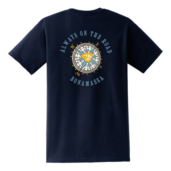 Always on the Road Compass Pocket T-Shirt (Unisex) - Navy